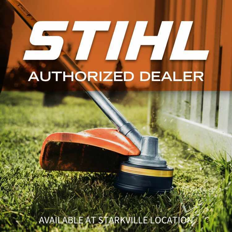 Stihl logo with weed eater and words Authorized Dealer and Available at Starkville Location