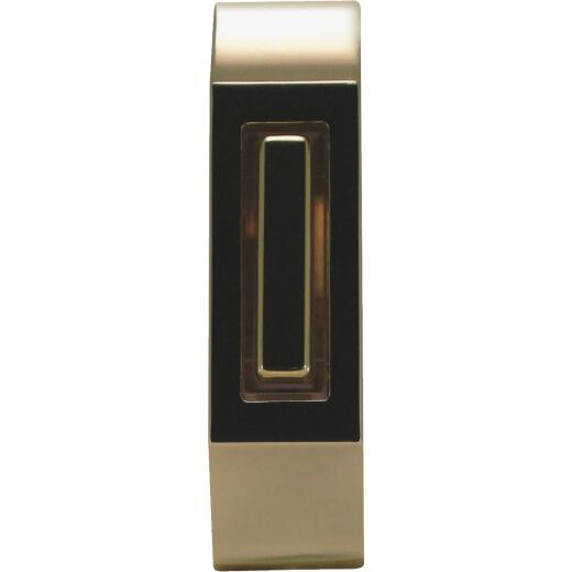 IQ America Wired Polished Brass & Brown Lighted Doorbell Button