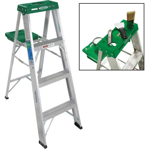 Werner 4 Ft. Aluminum Step Ladder with 225 Lb. Load Capacity Type II Ladder Rating