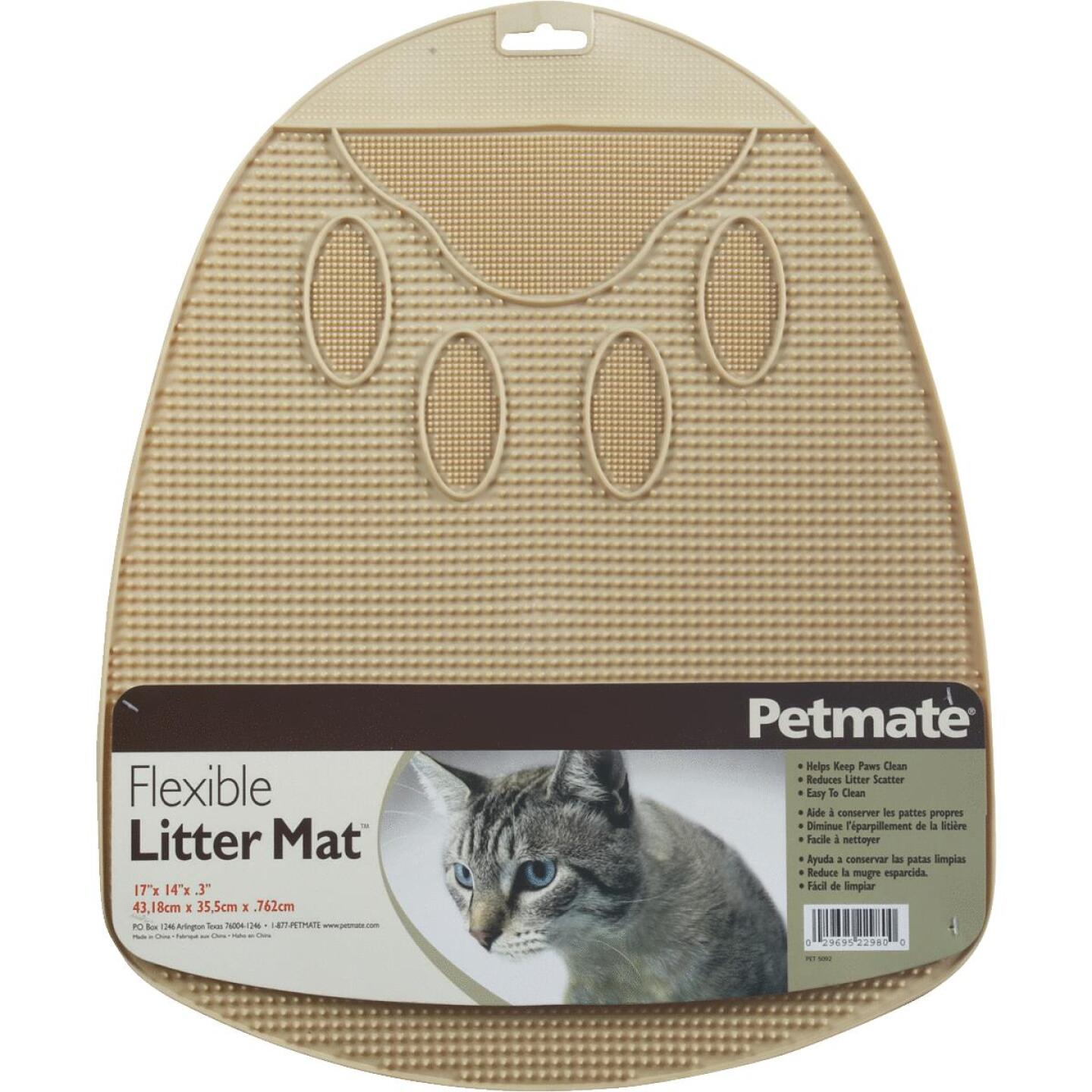 Petmate 13-1/2 In. x 14 In. x 1 In. Flexible Rubber Litter Mat Image 2