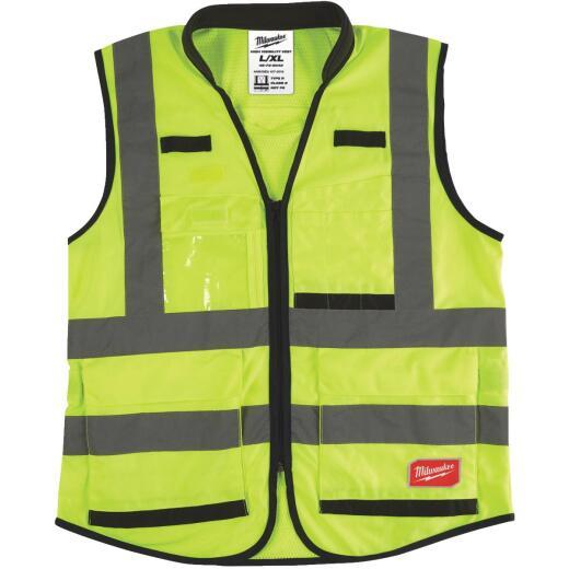 Milwaukee ANSI Class 2 Hi Vis Yellow Performance Safety Vest Large/XL
